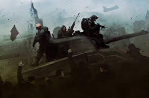 Картинка Homefront Танки Мужчины The Revolution Игры