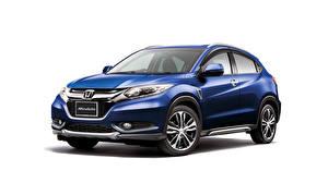 Фотографии Honda Синие Белом фоне Гибридный автомобиль Vezel Modulo 2014 авто