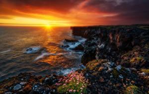 Фотография Исландия Рассветы и закаты Побережье Море Пейзаж Скала Природа
