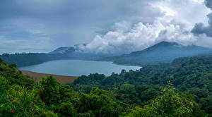 Фотографии Индонезия Горы Озеро Леса Облака Bali Природа