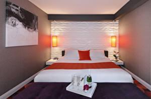 Фотографии Интерьер Шампанское Дизайн Спальня Кровать Лампа