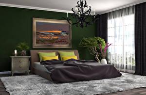 Картинка Интерьер Дизайн Спальне Кровать Люстра Ковра Подушки 3D Графика