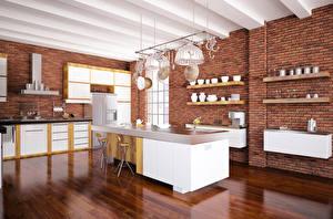 Картинка Интерьер Дизайн Кухня Стол Потолок