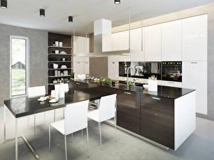Картинки Интерьер Дизайн Кухня Стол Стулья