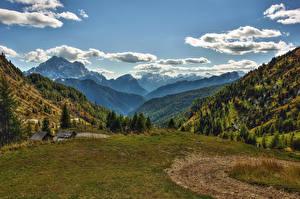 Картинки Италия Пейзаж Горы Луга Небо Ель Облака Veneto Природа