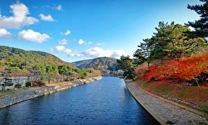 Фото Япония Небо Водный канал Kyoto Природа