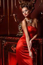 Обои Украшения Шатенка Платья Красных Роскошный девушка