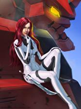 Фотография League of Legends Рыжая Сидит Katarina Игры Девушки