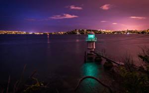 Обои Маяки Побережье Австралия Море Сидней Ночь Залив Природа