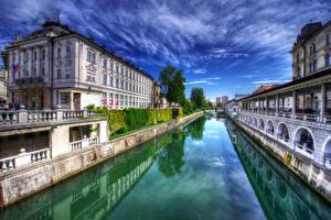 Фотографии Любляна Словения Дома Небо Водный канал