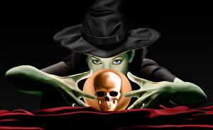 Картинки Магия Черепа Колдун Ведьма Шляпа Взгляд Шарики