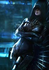 Фотографии Mass Effect 3 Капюшон Miranda Девушки Фэнтези