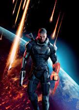 Картинки Mass Effect 3 Shepard Мужчины Пистолетом Доспехах компьютерная игра Фэнтези