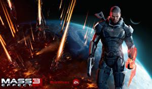 Фотографии Mass Effect 3 Shepard Мужчины Пистолетом Доспехи компьютерная игра Фэнтези