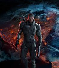 Фото Mass Effect 3 Shepard Мужчины Пистолеты Доспехи Игры Фэнтези