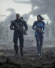 Обои Mass Effect 3 Shepard Воины Автоматы Двое Фэнтези