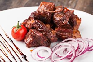 Фото Мясные продукты Томаты Лук репчатый Шашлык