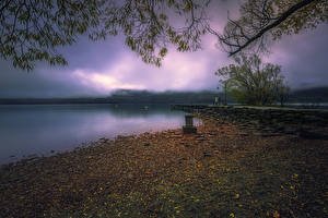 Фото Новая Зеландия Побережье Вечер Причалы Glenorchy Природа