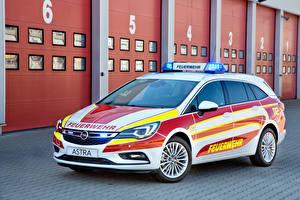 Фотография Opel Тюнинг Белый 2016 Astra Sports Tourer Feuerwehr Автомобили