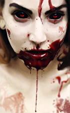 Картинка Рисованные Лицо Смотрит Кровь Девушки