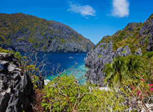 Фото Филиппины Тропики Горы Утес Залив Palawan