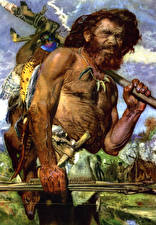 Фотография Картина Мужчины Zdenek Burian Борода Cro-Magnon hunter