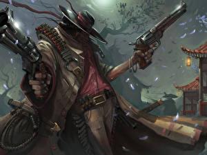 Фотография Пистолеты Патроны Воители Ночь Шляпа Револьвер Фэнтези
