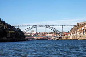 Обои Портус Кале Португалия Дома Реки Мосты Скала Города