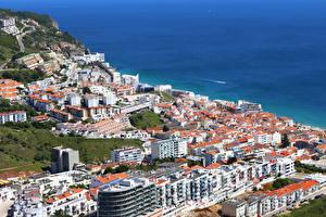 Фото Португалия Здания Берег Sesimbra Города