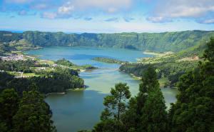 Фотография Португалия Пейзаж Озеро Горы Побережье Azores Природа