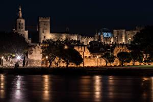 Фото Прованс Франция Дома Реки Берег Дворец Ночь Деревья Уличные фонари Avignon Города