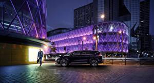 Фотография Рено Фиолетовый Сбоку Ночные 2015 Espace Initiale Paris Автомобили