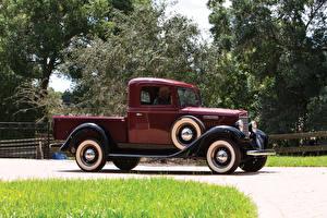 Обои для рабочего стола Ретро Бордовая Металлик Пикап кузов 1934 International C-1 Pickup Автомобили