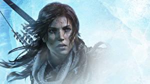 Фотография Rise of the Tomb Raider Лара Крофт Лицо Смотрят Красивая Девушки