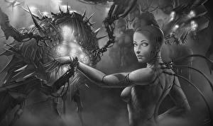 Обои Робот Черно белое Фэнтези Девушки