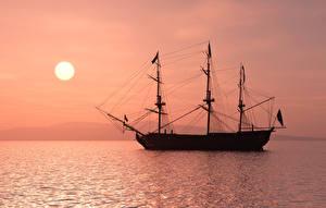 Фото Парусные Море Вечер Корабли 3D Графика