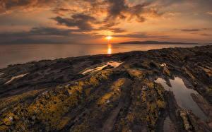 Картинка Шотландия Побережье Рассветы и закаты Небо Пейзаж North Ayrshire coast Природа