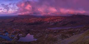 Фотография Шотландия Вечер Холмы Облака Мох North West Highlands Природа