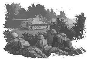 Фото Солдаты Танки Рисованные Черно белое Tiger