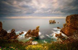 Фотография Испания Побережье Пейзаж Скала Горизонт Costa Quebrada Cantabria Природа