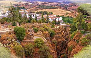 Обои Испания Дома Поля Скала Andalusia Ronda Города