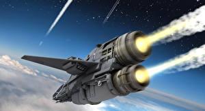 Картинка Star Citizen Звездолёт Летящий Игры Фэнтези