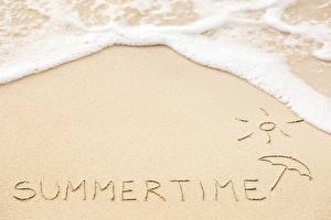 Фото Лето Песок Слово - Надпись Английский Природа