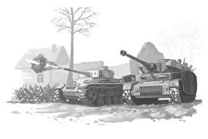 Фотографии Танки Рисованные Черно белое Немецкий Стрельба