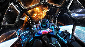 Картинки Техника Фэнтези Взрывы Кабина пилота Фэнтези Космос