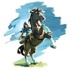 Фото The Legend of Zelda Лошади Воины Мечи Breath of the Wild Фэнтези