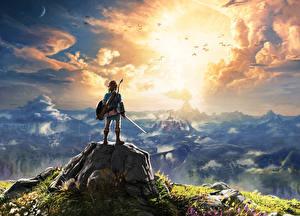 Фотография The Legend of Zelda Горы Воители Пейзаж Облака Breath of the Wild Игры Фэнтези