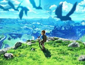 Фото The Legend of Zelda Воины Пейзаж Breath of the Wild Фэнтези