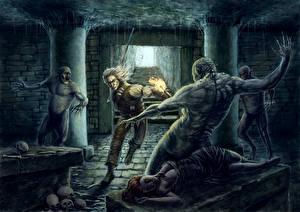 Картинки The Witcher 2: Assassins of Kings Битвы Магия Нежить Игры Фэнтези