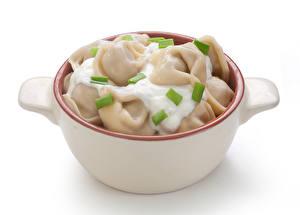 Фотография Вторые блюда Белый фон Пельмени Еда